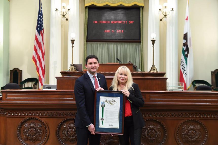 Assemblymember Gabriel presents Pastor April Belt with a Resolution in recognition of New Friends Homeless Center.