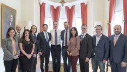 The California Legislative Jewish Caucus, including Chair Senator Ben Allen and Vice Chair Assemblymember Jesse Gabriel, with Governor Newsom