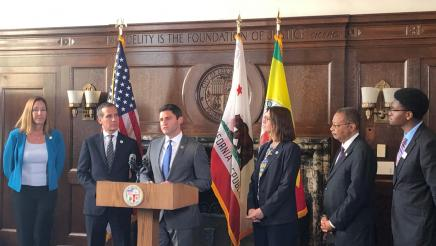 Assemblymember Gabriel joins LA Mayor Eric Garcetti at a roundtable on gun violence prevention